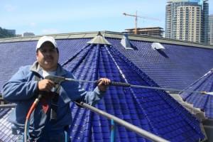 Steep, custom tile roof cleaning job
