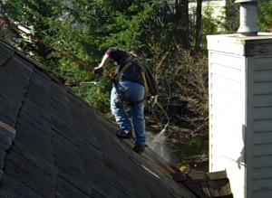 Roof treating in progress